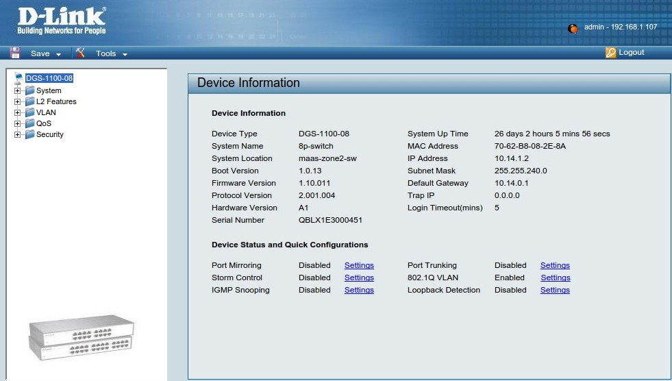 D-Link Device Information page